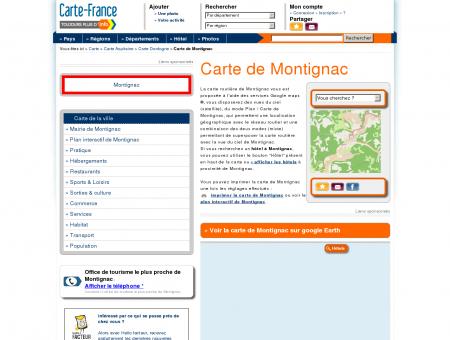 Carte et plan de Montignac 24290 : Hôtel,...