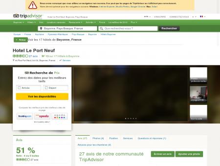Hotel Le Port Neuf (Bayonne) : voir 26 avis et...