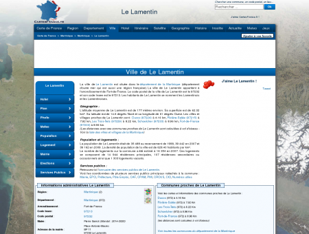 LE LAMENTIN - Carte plan hotel ville de Le...