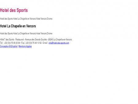 Hotel des Sports Hotel La Chapelle en Vercors...