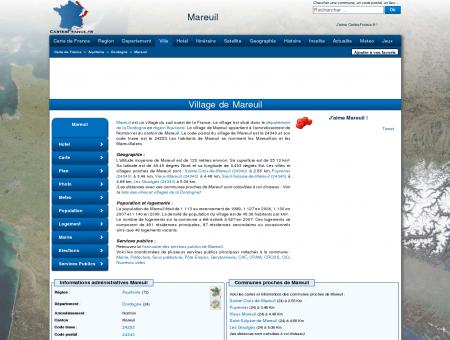 MAREUIL - Carte plan hotel village de Mareuil...