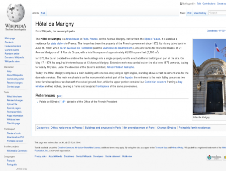 Hôtel de Marigny - Wikipedia, the free encyclopedia