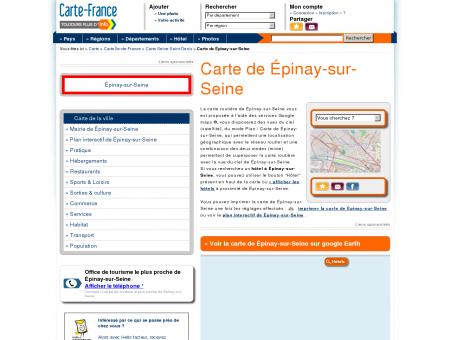 Carte et plan de Épinay-sur-Seine 93800 : Hôtel ...