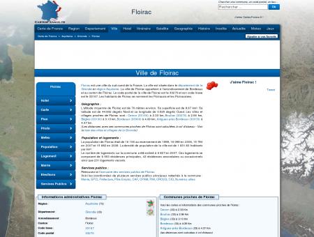 FLOIRAC - Carte plan hotel ville de Floirac...