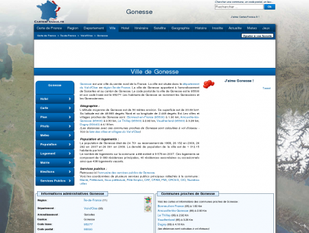 GONESSE - Carte plan hotel ville de Gonesse...