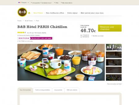 Hôtel B&B dès 53 à Paris Châtillon proche...