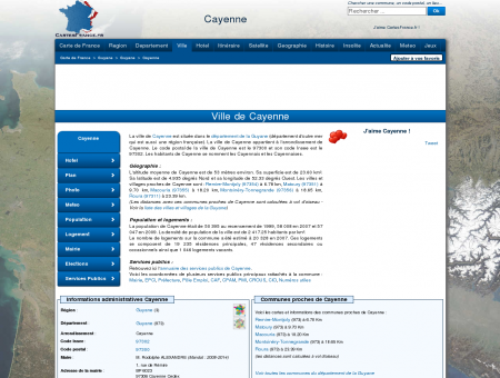 CAYENNE - Carte plan hotel ville de Cayenne...