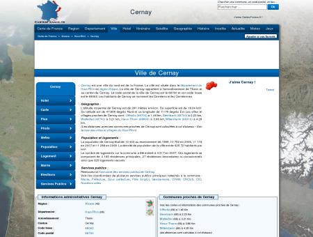 CERNAY - Carte plan hotel ville de Cernay...