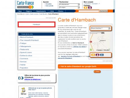 Carte et plan d'Hambach 57910 : Hôtel,...
