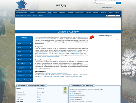 AUBIGNY - Carte plan hotel village d'Aubigny...