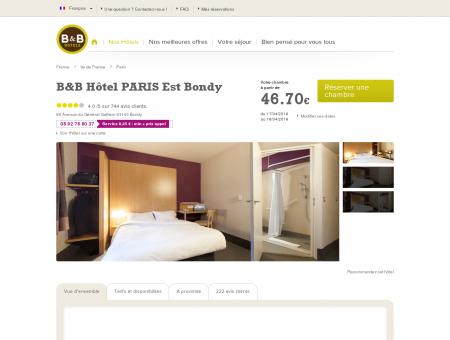 Hôtel B&B Paris Est Bondy dès 49 : proche...