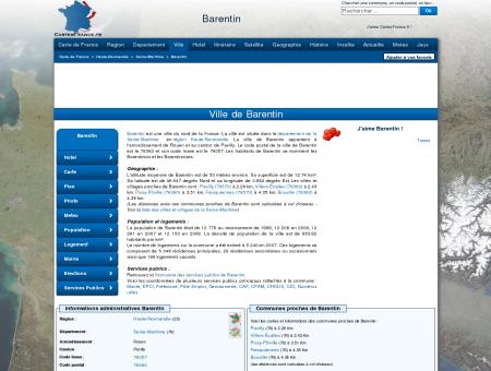 BARENTIN - Carte plan hotel ville de Barentin...