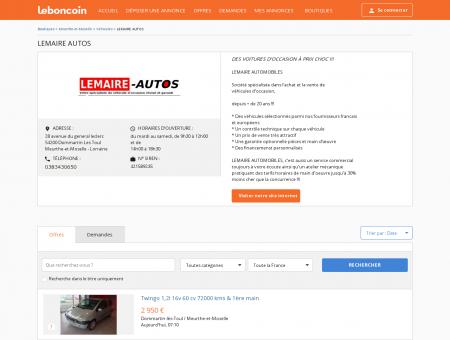 Boutique LEMAIRE AUTOS Véhicules...