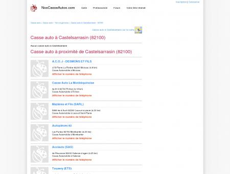 Casse auto Castelsarrasin - 82100 - Avis...