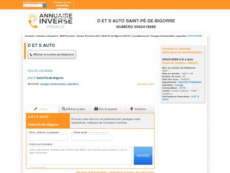 D ET S AUTO à Saint-pé-de-bigorre Le numéro...