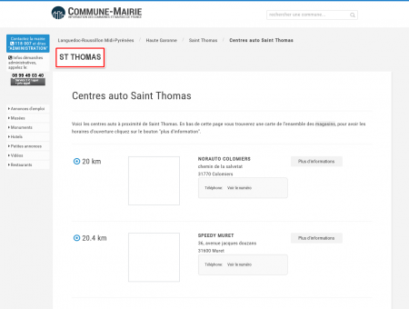 Centres auto à Saint Thomas (31470), plans...