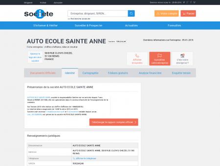 AUTO ECOLE SAINTE ANNE (REIMS) Chiffre...