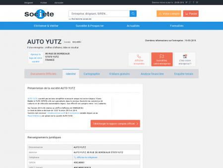 AUTO YUTZ (YUTZ) Chiffre d'affaires, résultat,...