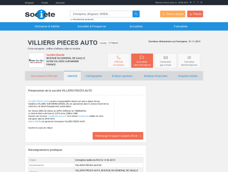 VILLIERS PIECES AUTO (VILLIERS SUR MARNE)...