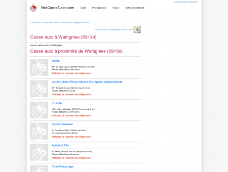 Casse auto Wattignies - 59139 - Avis casses...