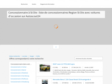 Concessionnaire à St Die : liste de...