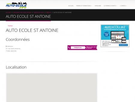 AUTO ECOLE ST ANTOINE : adresse, téléphone...