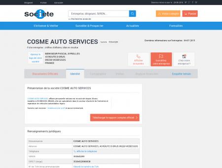 COSME AUTO SERVICES (VICDESSOS) Chiffre...