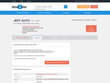 JEFF AUTO (SAVIGNAC DE L'ISLE) Chiffre...