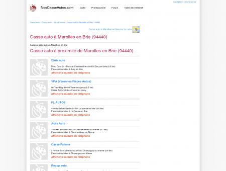 Casse auto Marolles en Brie - 94440 - Avis...