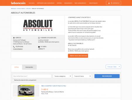 Boutique ABSOLUT AUTOMOBILES Véhicules...