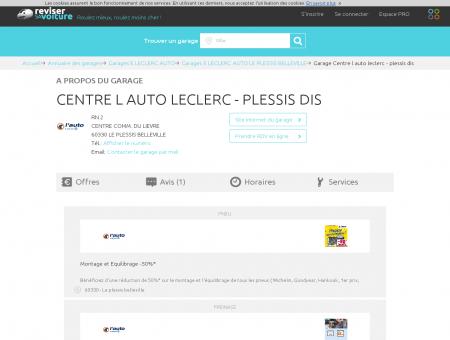 Garage - CENTRE L AUTO LECLERC - PLESSIS DIS