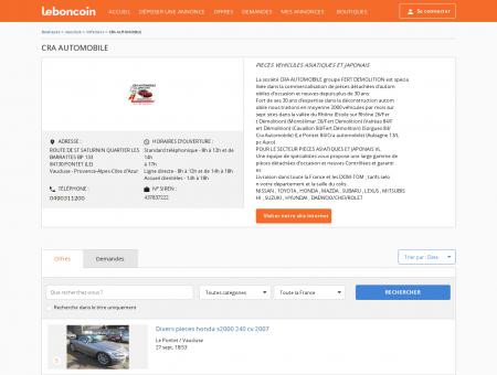 Boutique CRA AUTOMOBILE Véhicules PONTET...