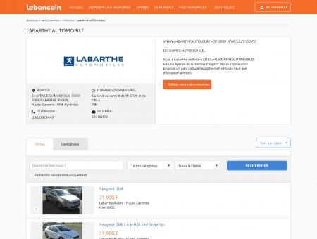 Boutique LABARTHE AUTOMOBILE Véhicules...