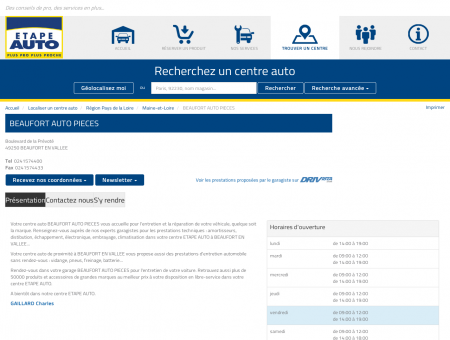 BEAUFORT AUTO PIECES, centres auto ETAPE...