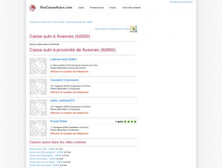 Casse auto Avesnes - 62650 - Avis casses...