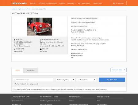 Boutique AUTOMOBILES SELECTION Véhicules...