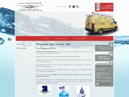 Plombier, Chauffagiste - Nancy  Donninger Alain