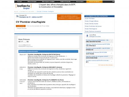 Exemple CV Plombier chauffagiste - Batiactu...