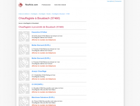Chauffagiste Bousbach - 57460 - Avis...