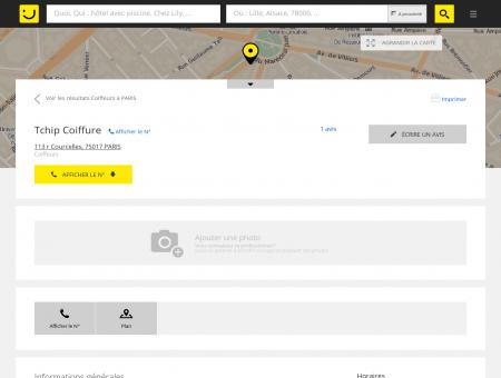 Tchip Coiffure Paris (adresse, horaires, avis)