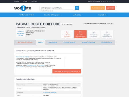 PASCAL COSTE COIFFURE (NICE) Chiffre...