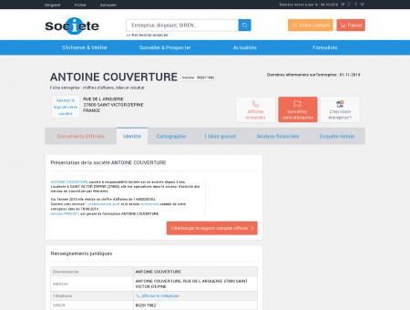 ANTOINE COUVERTURE (SAINT VICTOR...