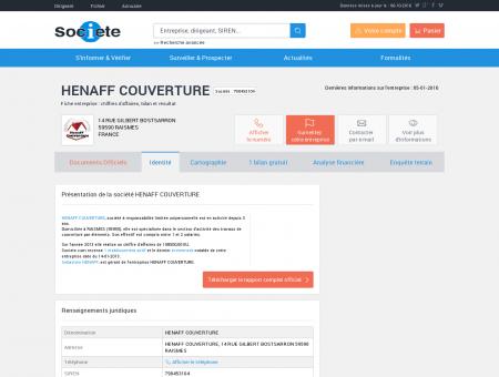 HENAFF COUVERTURE (RAISMES) Chiffre...