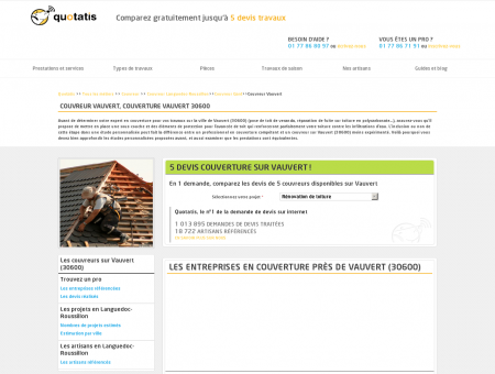 Couvreur Vauvert, Couverture Vauvert 30600