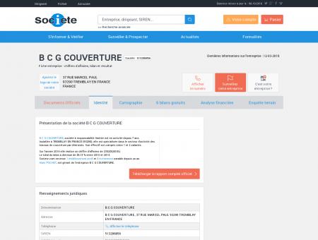 B C G COUVERTURE (TREMBLAY EN FRANCE)...