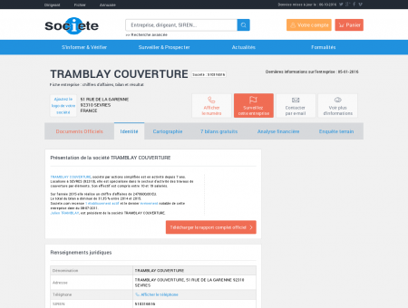 TRAMBLAY COUVERTURE (SEVRES) Chiffre...