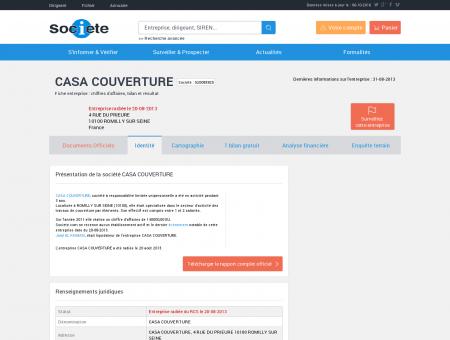 CASA COUVERTURE (ROMILLY SUR SEINE)...
