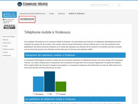 Téléphonie mobile, 3G et 4G à Vicdessos...