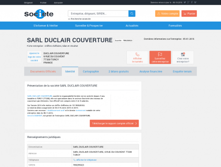 SARL DUCLAIR COUVERTURE (TORCY) Chiffre...