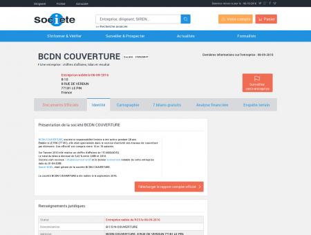 BCDN COUVERTURE (LE PIN) Chiffre d'affaires,...